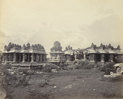 Ruins of Vijianuggur [Vijayanagara] near Humpee [Hampi]. The Vigiavittaldover or temples near the River Tumboodra [Tungabhadra]. General view of enclosure from entrance